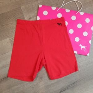 PINK Victoria's Secret Shorts - VS Pink biker shorts High Waist RED Small